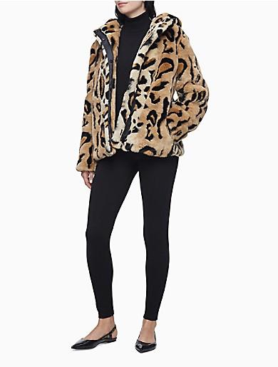 Image of Faux Fur Cheetah Zip Hooded Coat