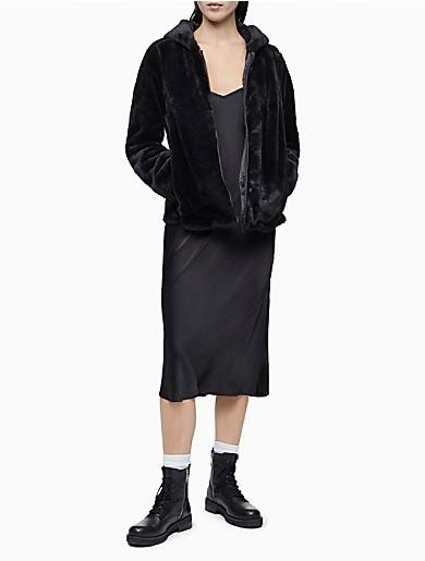 Image of Solid Faux Fur Zip Hooded Jacket