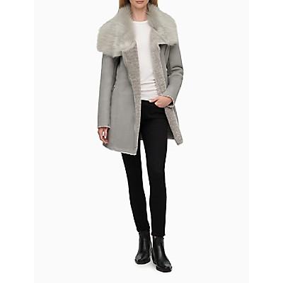 Faux Shearling Asymmetric Zip Coat