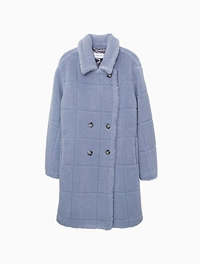 Image of Faux Fur Sherpa Double Breasted Coat
