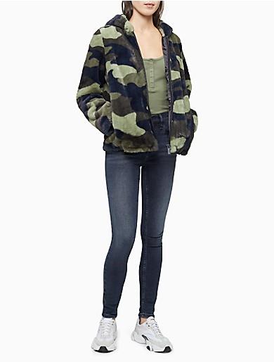 Image of Printed Faux Fur Zip Hooded Jacket