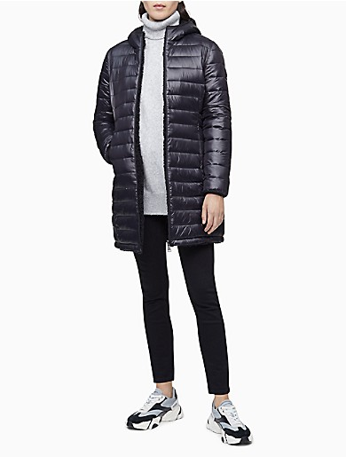 Image of Packable Reversible Sherpa Hooded Puffer Coat