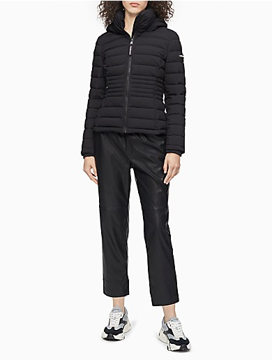 Image of Stretch Full Zip Hooded Puffer Jacket