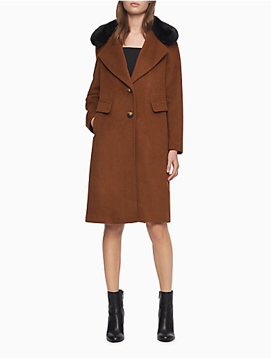 Image of Wool Blend Faux Fur Collar 2-Button Coat