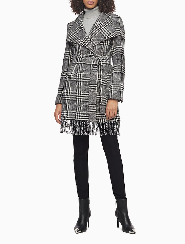 WOOL BLEND PLAID BELTED FRINGE COAT