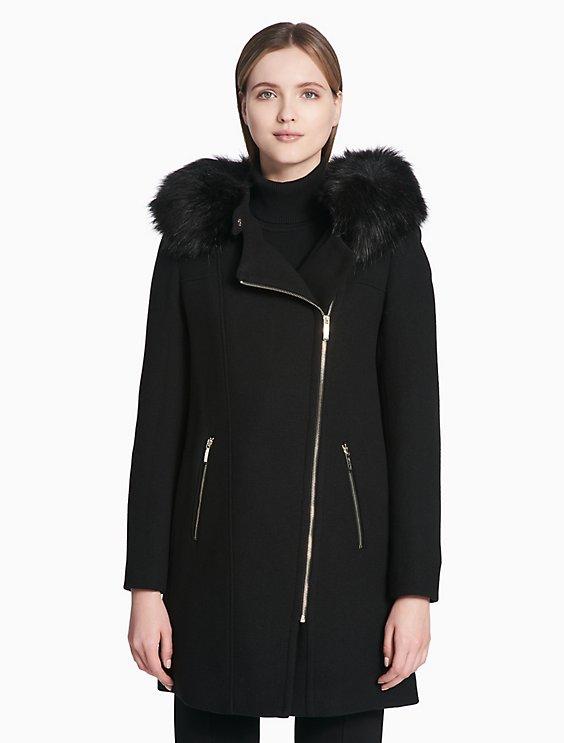 080d25cc57c asymmetrical zip double face coat | Calvin Klein