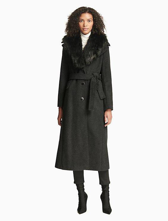 d2d91917d08 Luxe Faux Fur Belted Coat | Calvin Klein