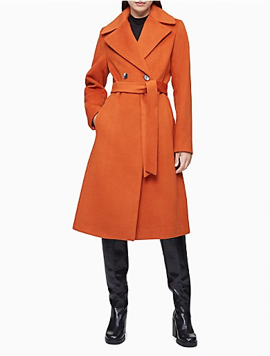 Image of Wool Blend Double Breasted Belted Coat