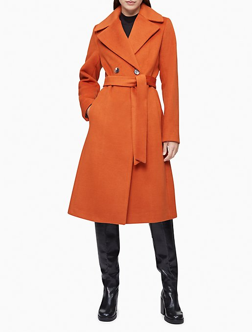 Wool Blend Double Breasted Belted Coat Calvin Klein