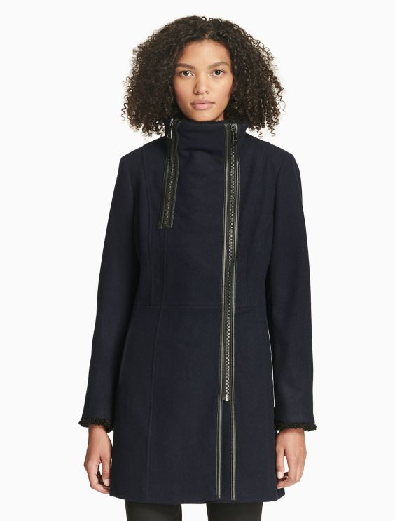 Solid Asymmetric Zip Coat by Calvin Klein