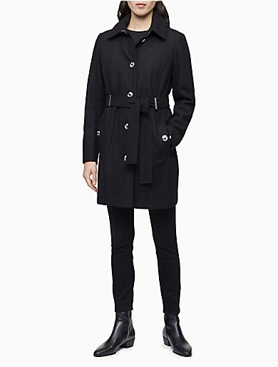Image of Wool Blend Belted Trench Coat