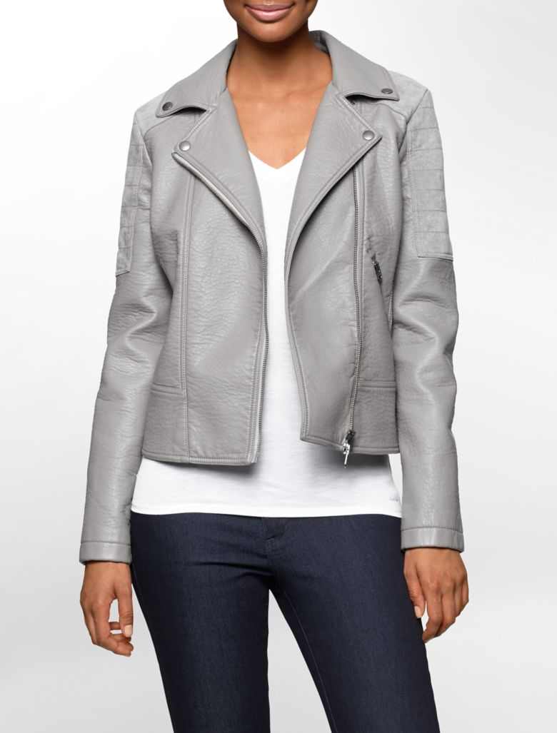 Ladies Faux Leather Moto Jacket