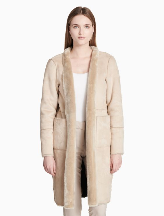 Reversible Faux Fur Long Jacket by Calvin Klein