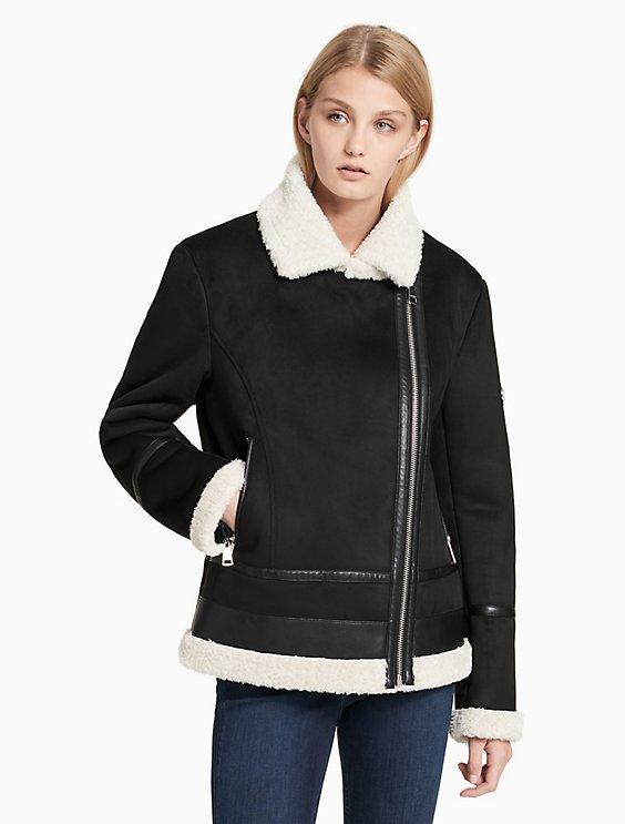 80e9cea098df faux shearling asymmetrical zip jacket | Calvin Klein