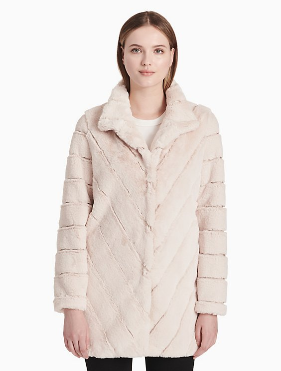 bd78bb557467d faux fur chevron coat   Calvin Klein