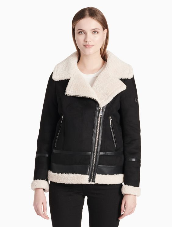 Faux Shearling Asymmetric Zip Jacket by Calvin Klein