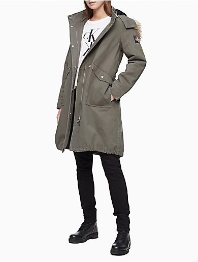 Image of Solid Faux Fur Hooded Walker Jacket