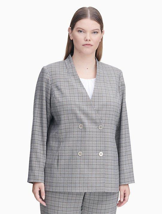 Plus Size Double Ted Plaid Jacket