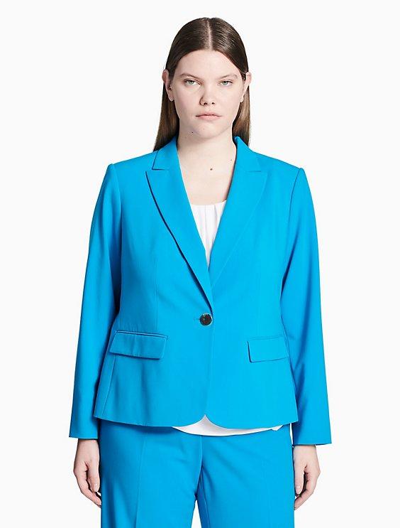 5ba3af0dacc Final Sale plus size luxe one button jacket