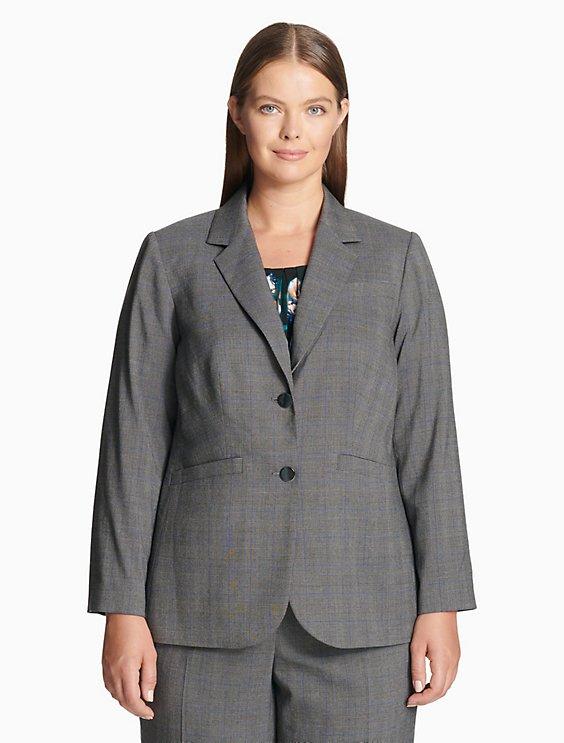61768434583d7 Price as marked plus size plaid notch lapel 2-button jacket