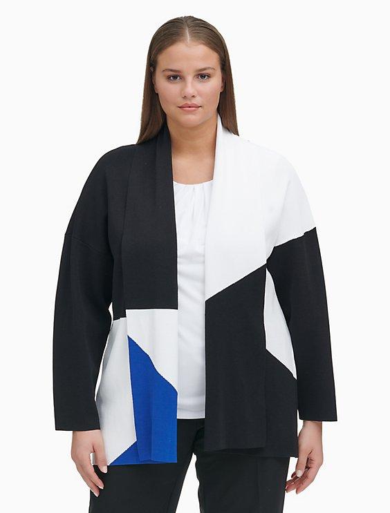ed81b14ce88 plus size geometric knit jacket