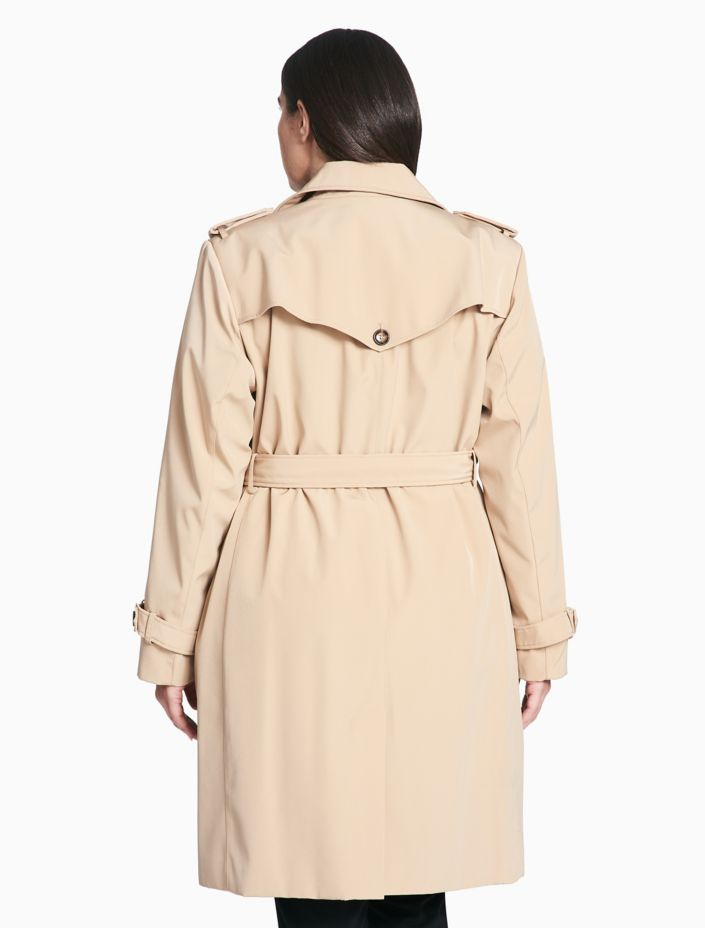 Plus Size Belted Long Trench Coat by Calvin Klein