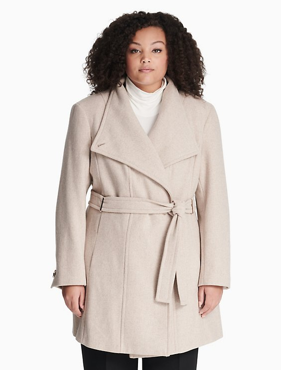 b100b0f75 Plus Size Wool Blend Belted Coat   Calvin Klein