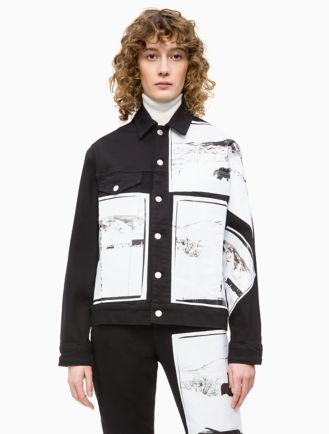 Warhol Landscape Black Denim Trucker Jacket