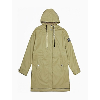 Solid Monogram Logo Patch Hooded Jacket