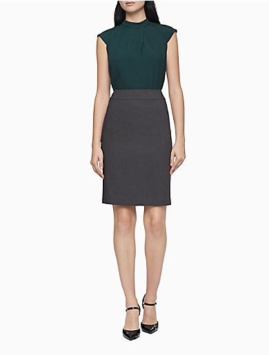 Image of Charcoal Pencil Suit Skirt