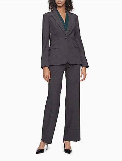 Image of One Button Charcoal Suit Jacket