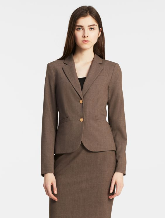 Heather Taupe Suittwo Button Heather Taupe Suit Jacketstraight Fit Suit Pants by Calvin Klein