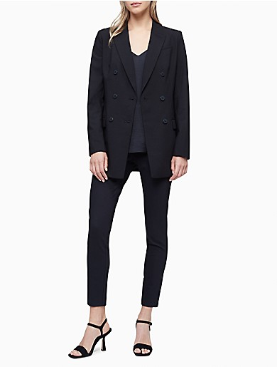Image of Solid Peak Lapel Double Breasted Blazer