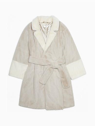 Image of Faux Fur Contrast Belted Jacket