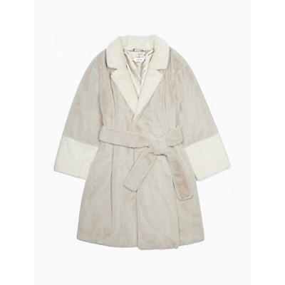 Faux Fur Contrast Belted Jacket
