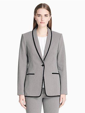 7ea3506c2c7344 piped check shawl collar jacket