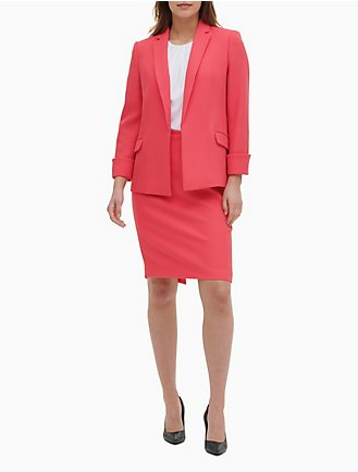 db88d01fa35489 Textured Stretch Open Front Cuffed Jacket