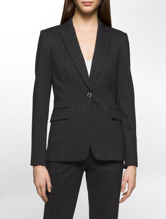 Heathered Pinstripe Suit Jacket Calvin Klein