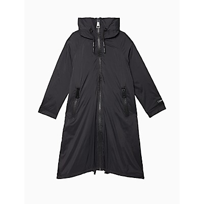 Solid Nylon Logo Zip Hooded Raincoat