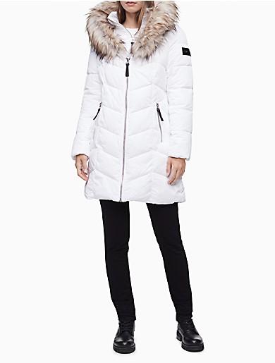 Image of Heavyweight Zip Faux Fur Hooded Puffer Jacket