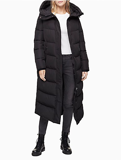 Image of Solid Hooded Maxi Puffer Coat