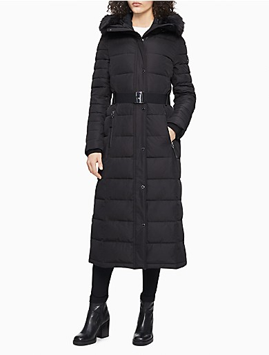 Image of Faux Fur Belted Maxi Puffer Coat