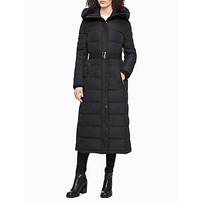 Faux Fur Belted Maxi Puffer Coat