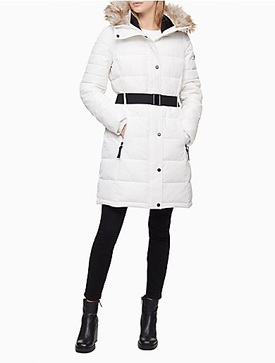 Image of Faux Fur Hood Belted Puffer Coat