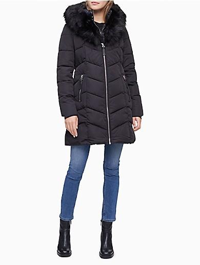 Image of Faux Fur Collar Full Zip Puffer Coat