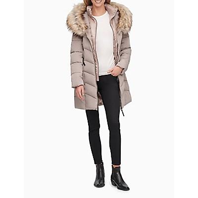 Faux Fur Collar Full Zip Puffer Coat