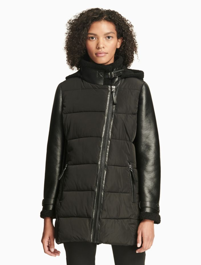 Heavyweight Mixed Media Hooded Coat by Calvin Klein