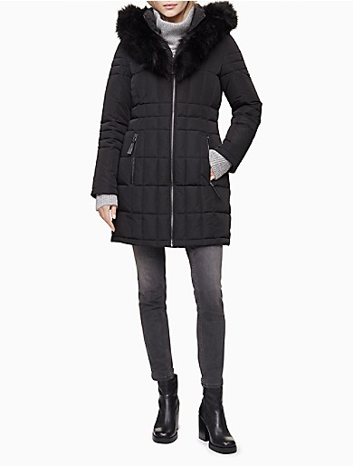 Image of Faux Fur Full Zip Hooded Puffer Jacket