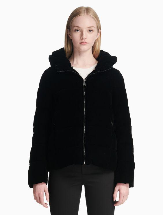 Velvet Hood Puffer Jacket by Calvin Klein