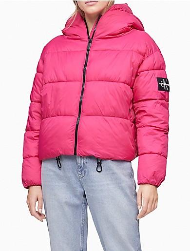 Image of Boxy Hooded Puffer Jacket